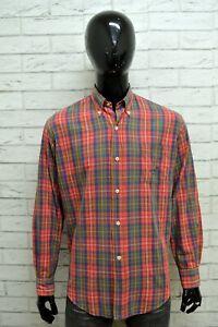 Camicia-HENRY-COTTONS-Uomo-Taglia-XL-Maglia-Shirt-Man-Cotone-Manica-Lunga-Quadri