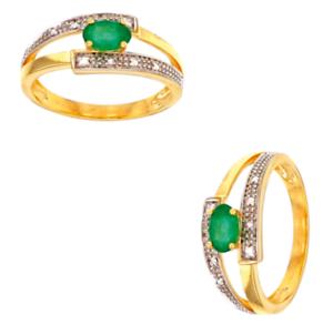 Bague-Pierre-Emeraude-et-Diamants-En-OR-JAUNE-9-CARATS-375-1000-T52-54-56-58