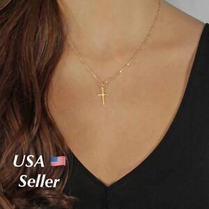 Women-039-s-Gold-Plated-Simple-Small-Tiny-Cross-Pendant-Necklace-Beaded-Chain-18-034-N2