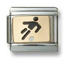 Authentic Italian Charm Link Gold Enamel Black Soccer Player 9mm Fit Bracelet