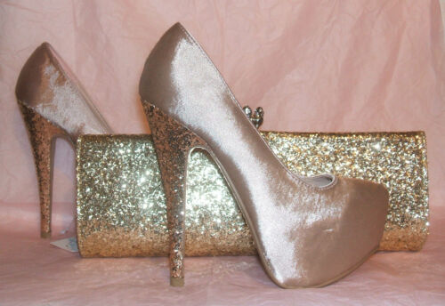 BN PRIMARK SIZE 2.5 3 4.5 5 6.5 7 NUDE PINK SATIN GOLD GLITTER SHOES BAG EXTRA