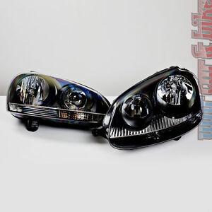 Hella-Klarglas-Scheinwerfer-Set-VW-Golf-5-V-GTI-R32-schwarz-inkl-Stellmotoren