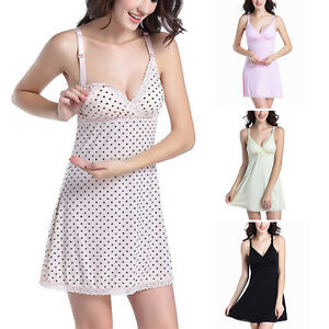aa70f1c58a8 Image is loading Hot-Maternity-Nightdress-Pregnant-Lace-Comfort- Breastfeeding-Sleepwear-