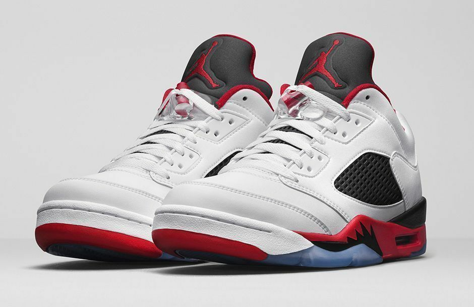 Nike Air Jordan 5 Retro Low Fire Red Size 9.5-11 White Fire Red Black 819171-101