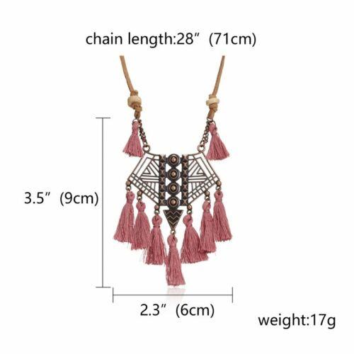 Vintage Boho Tassel Fringe Pendant Necklace Leather Rope Long Women Jewelry Gift