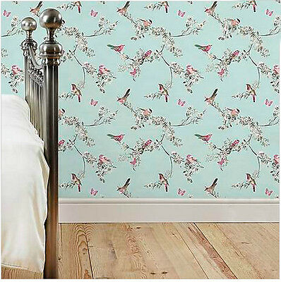 SAMPLE Duck Egg Birds Butterflies Luxury Wallpaper French Style Vintage Country