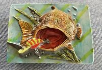 LARGE MOUTH FISH BASS LURE HOOK UNDERWATER FISHING SCENE 3D BELT BUCKLE USA MADE