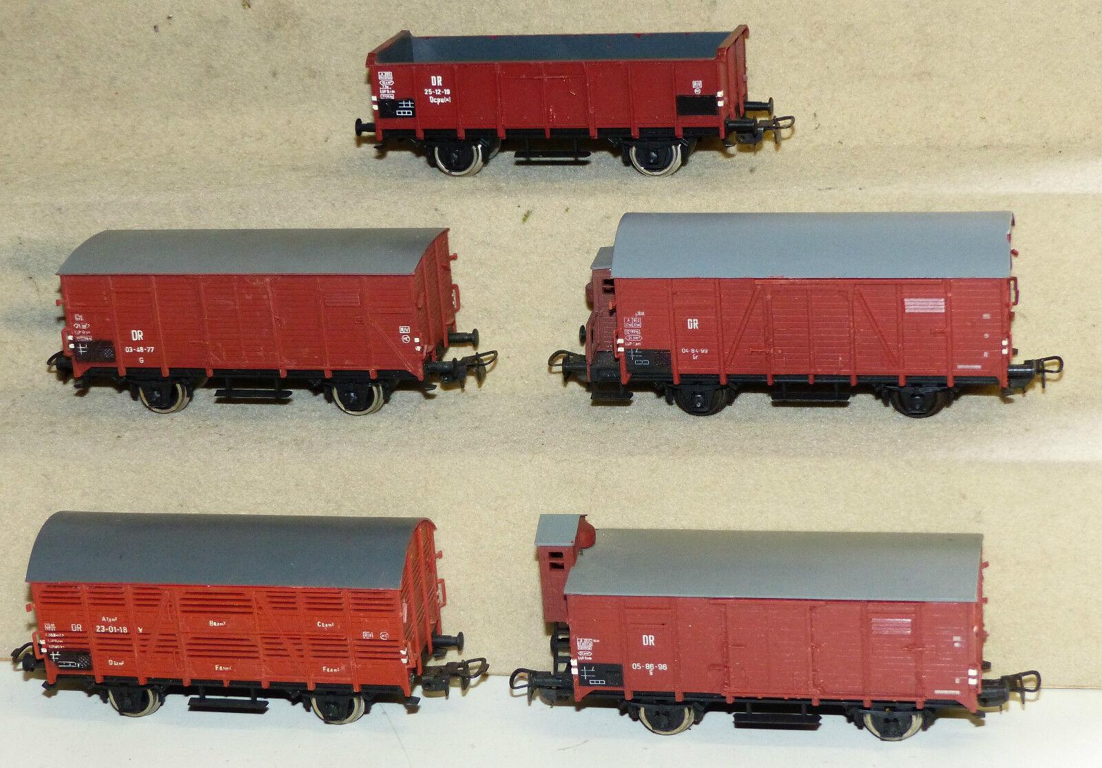 5x Piko ged. Güterwagen der DR tlw. mit Bremserhaus H0  | Räumungsverkauf