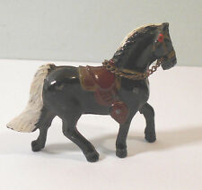 "Miniature 2 1/2"" BLACK & WHITE vtg toy lead HORSE figure w chain~Japan"
