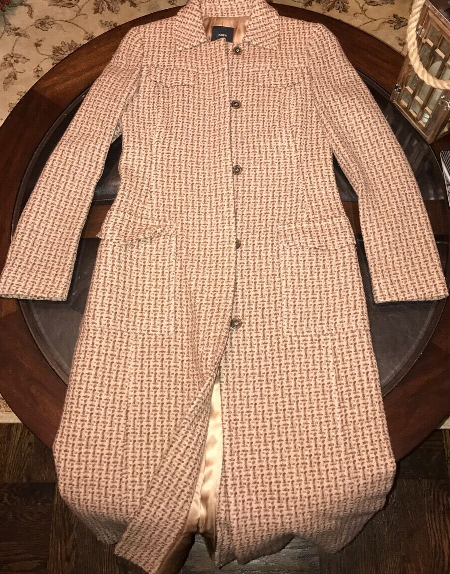 J Crew Womens 100% Wool Long Coat Size Size Size 2 Made In Hungary 8dac7a