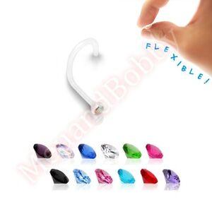 20g Bioflex Gem Nose Piercing Stud Twist Bar Ring Choose Single Or