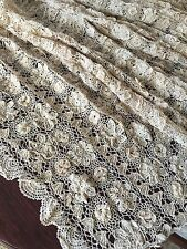 """Indian Linen Lace Handmade Bed Cover Spread  72"""" X 90"""" Floral Appliqué New Tags!"""