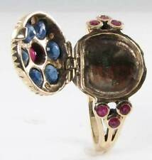 LOVELY ENGLISH 9K 9CT GOLD INDIAN RUBY BLUE SAPPHIRE PEARL POISON LOCKET RING
