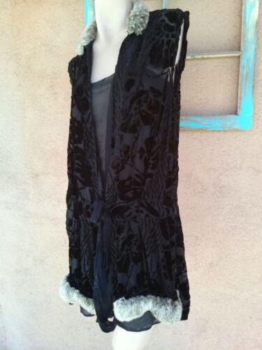 Vintage 1920s Black Silk Cut Velvet Devore Dress w
