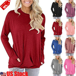 Women-039-s-Autumn-Long-Sleeve-Round-Neck-Pullover-Blouse-Tops-T-Shirt-Casual-Pocket