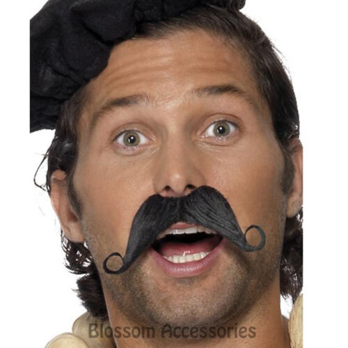 A579 Frenchman Swirl Moustache Detective Poirot France Costume Accessory