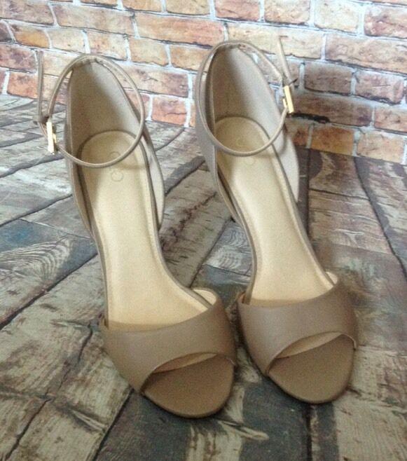 Cato Cato Cato Nude Beige Open Toe Ankle Strap Heels Size 10 c243ab