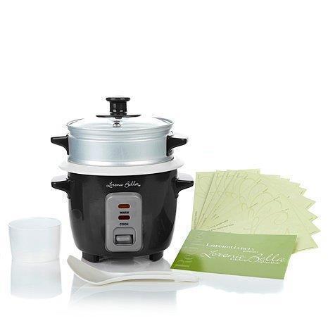 * Lorena Garcia Skinny Mini Multi One-Touch Cooker w// Steamer Insert Recipes Blk