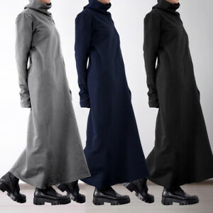 Mode-Femme-Coupe-Slim-Robe-Chaud-Pull-a-Col-Montant-Manche-Longue-Dresse-Plus