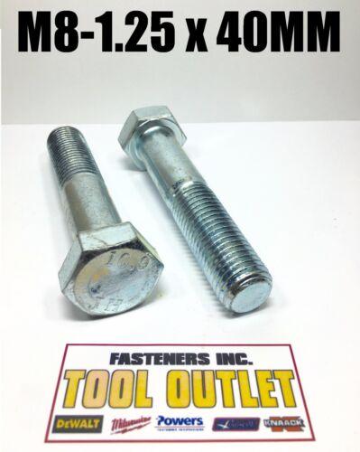 M8-1.25 x 40mm Hex Bolt Zinc Plated Grade 10.9 Cap Screw Metric Qty 10