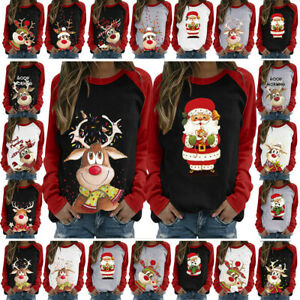 Women-Ladies-Tee-Loose-Christmas-Blouse-Reindeer-Shirt-Xmas-Pullover-Jumper-Tops