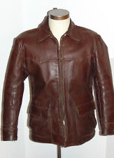 VINTAGE 1940s GRAIS BROWN HORSEHIDE LEATHER JACKET! ZIPPER FRONT! ACTION BACK! S
