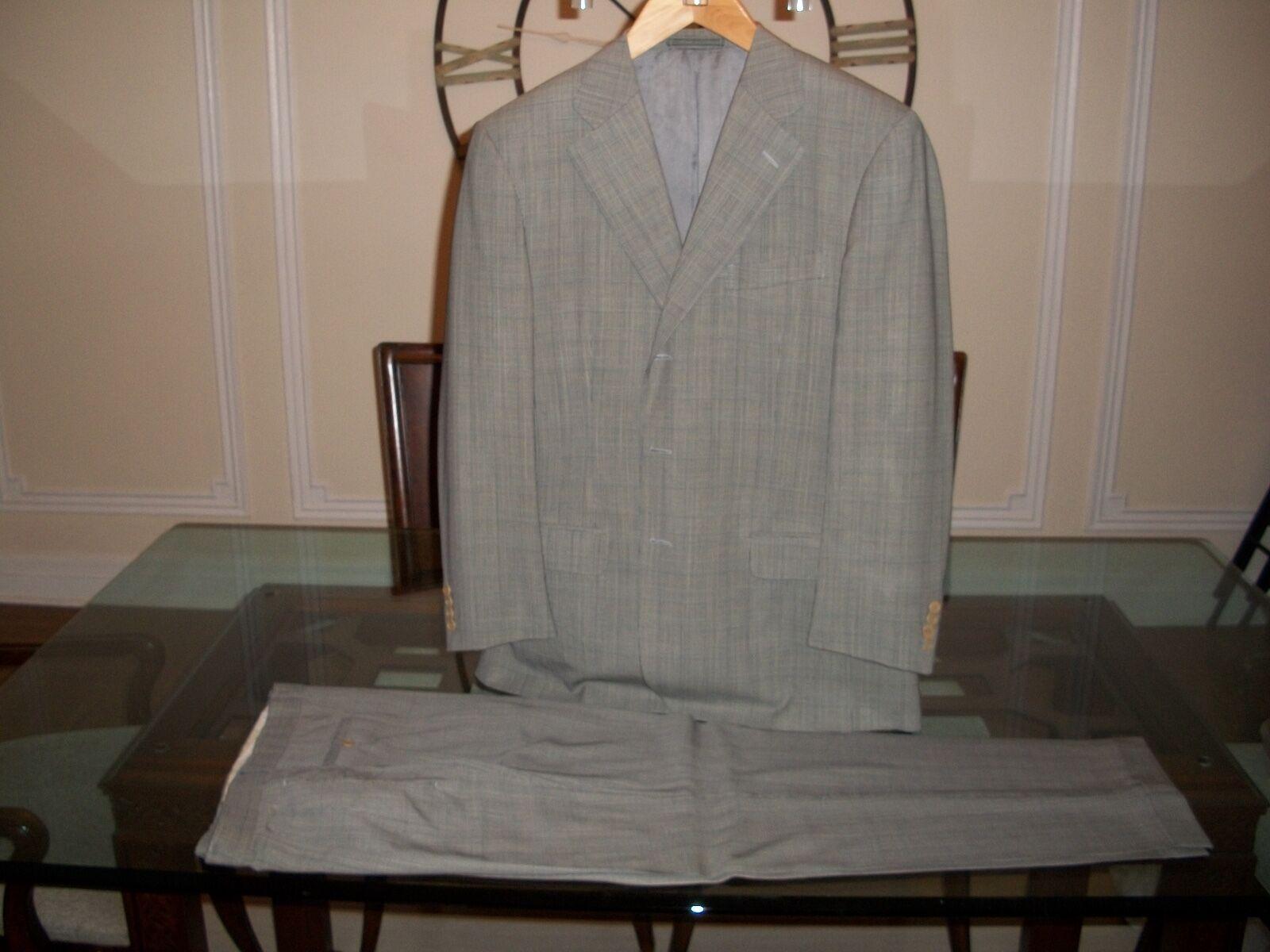Used ERMENEGILDO ZEGNA Grau glenplaid suit EU 52R US 42R 34 x 30  2195