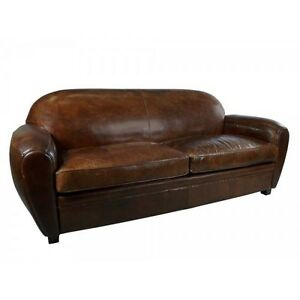 Art Deco Sofa 3-Sitzer Vintage Cigar Leder Möbel Ledersofa Clubsofa ...