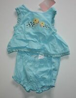 Gymboree Light Blue Top Shorts 2 Piece Summer 0-3m Island Beauty Line
