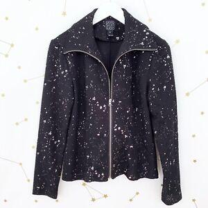 Clara-Sun-Woo-Jacket-Size-XS-Black-Silver-Splatter-Full-Zip-Textured-Knit-Artsy