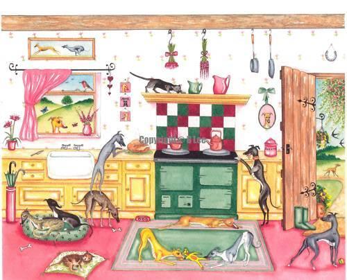 Whippet greyhound dog Kitchen Watercolour//ink.