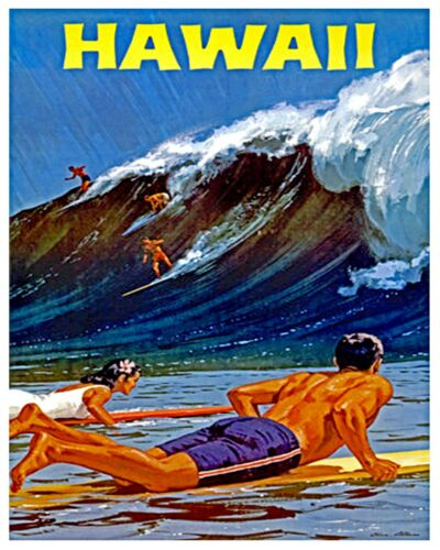 """Hawaii Vintage Travel Poster 12x16/"""" Rare Hot New A43"""