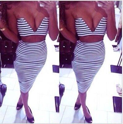 Sexy Lady Two-piece Set Strapless V-Neck Bodycon Cocktail Knee Length Dress B