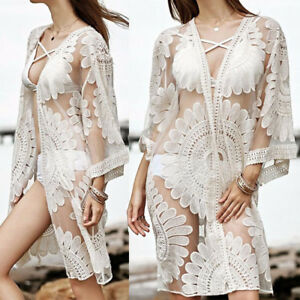 Women Lace Crochet Shawl Kimono Cardigan Beach Blouse Long Tops Maxi