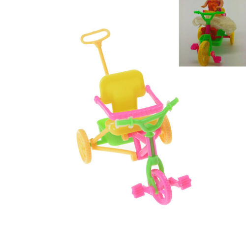 Cute Plastic Bike Tricycle with Push Handle for Dolls Kids GiftSN