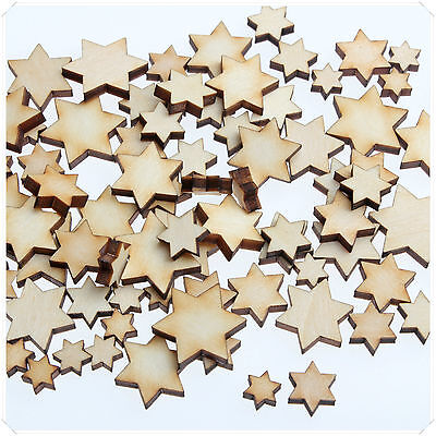 50pcs WOODEN MINI MIXED WOOD HEXAGRAM DECOR SIX STAR CARD MAKING SCRAPBOOKING