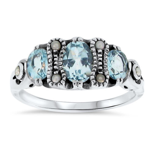GENUINE  SKY BLUE TOPAZ ANTIQUE VICTORIAN STYLE .925 SILVER RING SIZE 5.75 #66