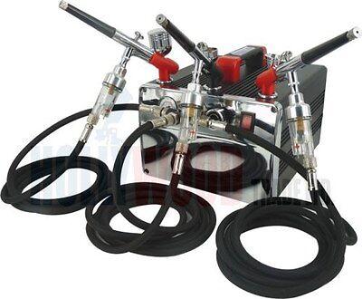 New Mini Airbrush Compressor Kit - HS 218 Kit 3 (3 Airbrush's)