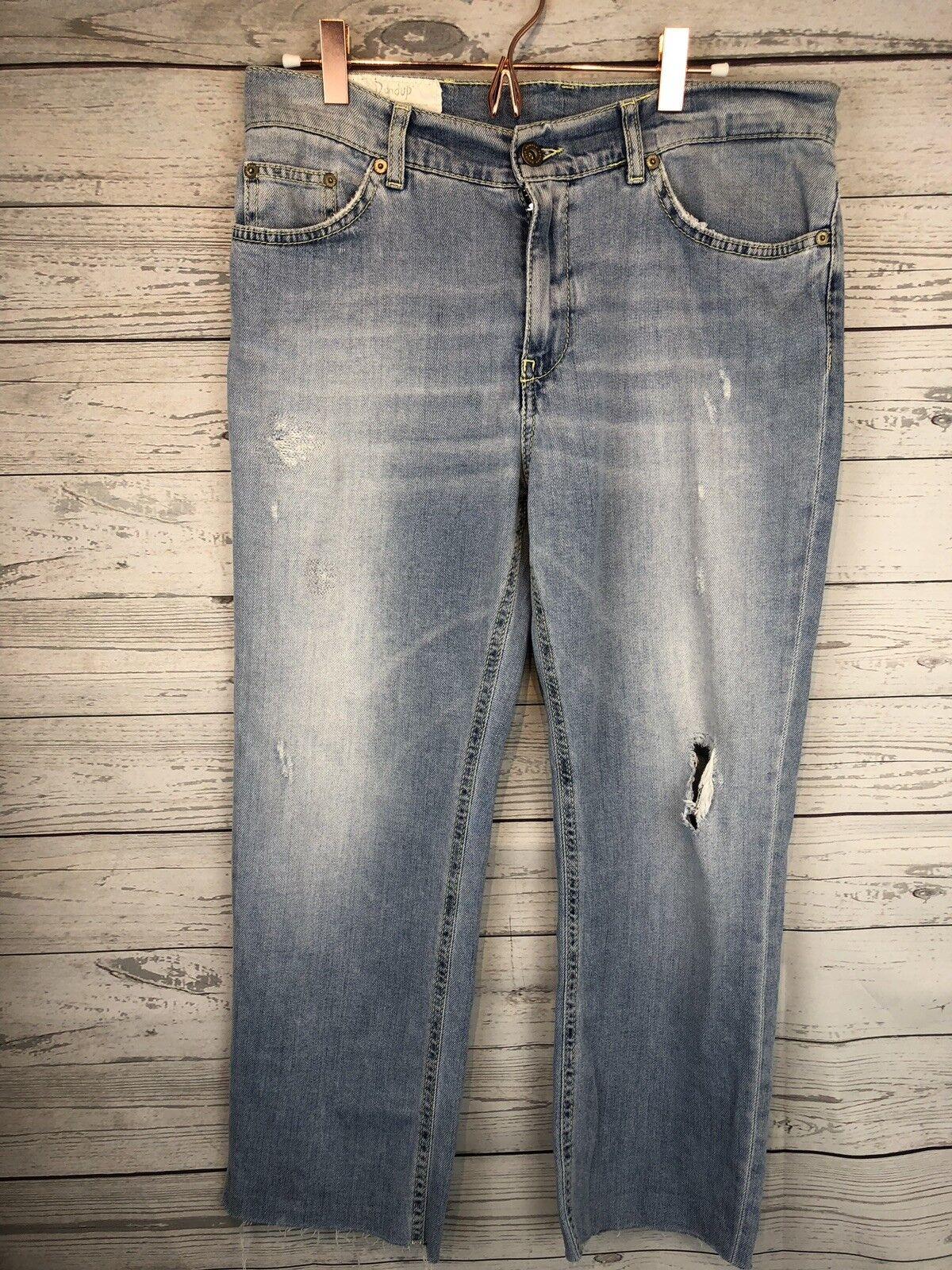 Dondup Paige Distressed Destroyed Boyfriend Jeans Straight Leg  Raw Hem 27