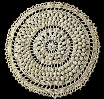 "Lovely Pattern Rare Used Early Vintage Elaborate Crochet Lace Doily 11"" Dia Linens & Textiles (pre-1930) Doilies"