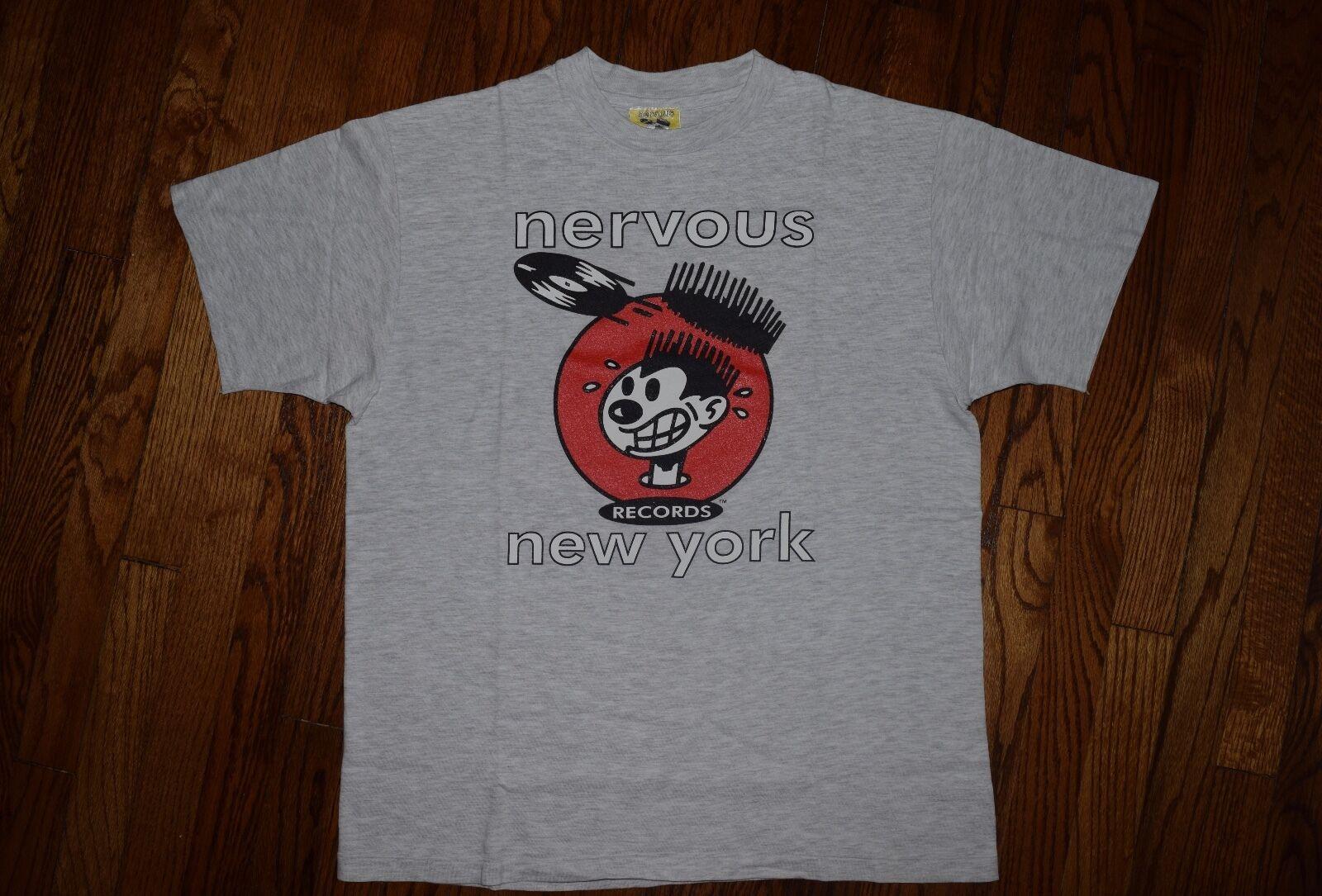 1992 nervous wreck records new york rap hip hop vtg t-shirt 90s schwarz moon M L