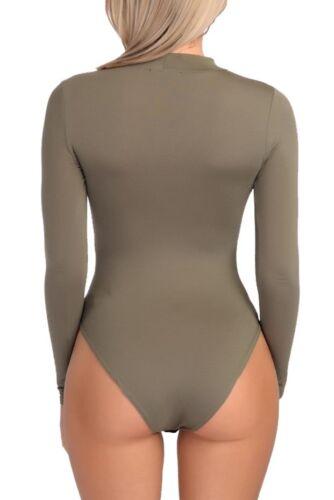 Womens Ladies High Neck Choker Keyhole V Neck Bodysuit Long Sleeve Leotard Tops