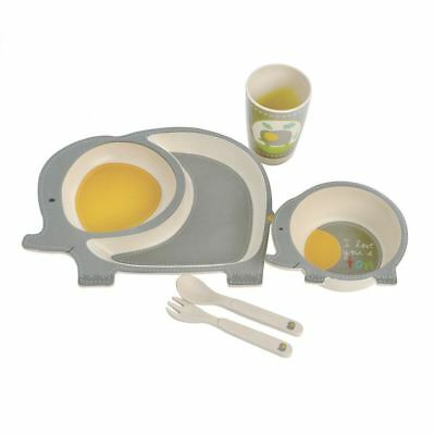 Elephant Childs Bamboo Eco Friendly 5 Piece Dinner Set Plate Bowl Cup Cutlery