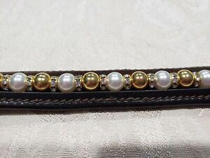 En Cuir Marron Bracelet Avec Swarovski Perles Blanches En Métal, Perles & Clear Rondells-afficher Le Titre D'origine