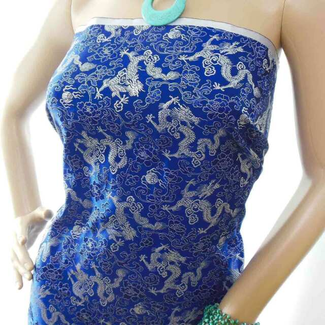by the Yard Chinese Faux Silk Embroidered Brocade Fabric electric blue w dragon