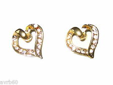 stud earrings pair of diamante studded heart shape 1.4 cms new