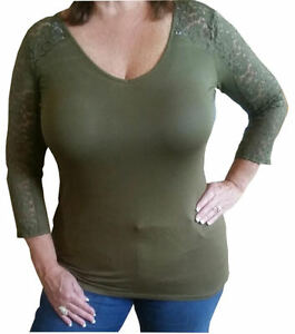 Plus-Size-Olive-Green-3-4-Lace-Sleeve-Cutout-Back-Scoop-Neck-Blouse-Top1X-2X