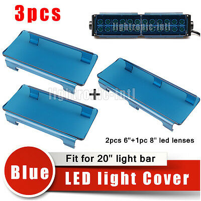 "20"" Inch Snap on Blue LED Light Bar Lens Covers Set Jeep Truck Offroad 4WD 120W"