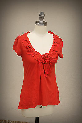 ANTHROPOLOGIE Size XS/S Rolled Flower Hi Low Cotton Top