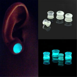 Glow-in-the-Dark-Liquid-Filled-Ear-Plugs-Double-Flared-Saddle-Ear-Gauges-NewFB